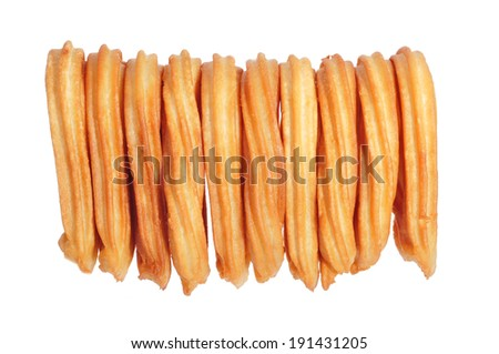 a pile of churros typical of Spain on a white background - stock photo