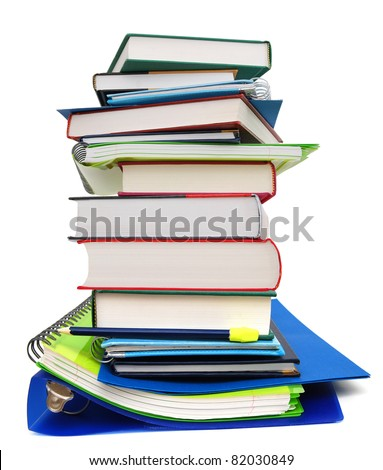 A pile of classroom homework - stock photo
