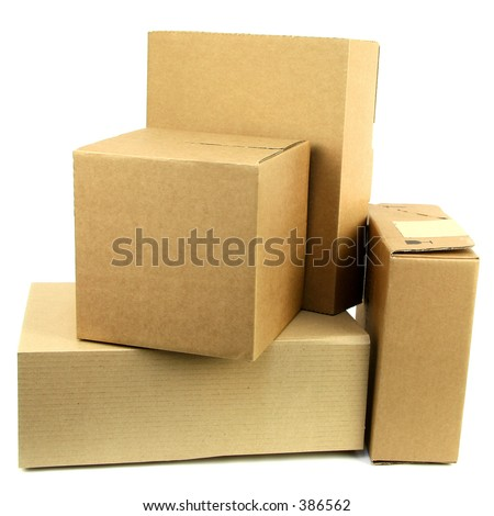 A pile of closed boxes - stock photo