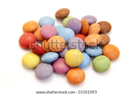 a pile of color candies isolated on white - stock photo