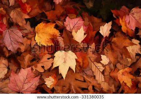 A pile of colorful fallen Autumn leaves transformed into a painting - stock photo