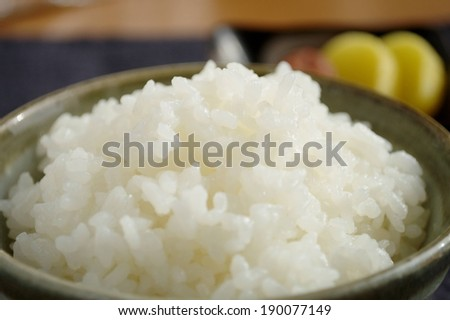 A pile of cooked white rice in a bowl. - stock photo