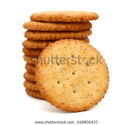 a pile of cracker on white background