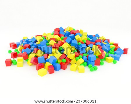 A pile of cubes and balls