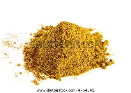 a pile of curry powder on white background, bright color