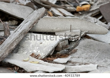 A pile of debris of a destroyed building