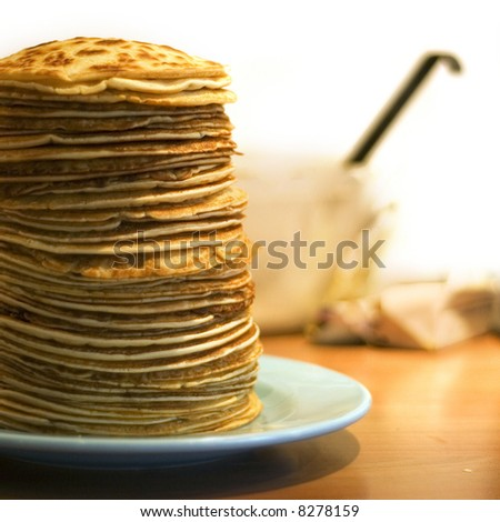 a pile of delicious handmade pancakes