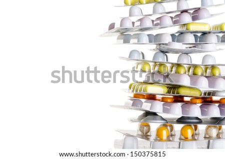 a pile of drugs before white background with copy space