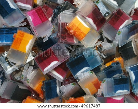 A pile of empty Ink Cartridges waiting for recycling. - stock photo
