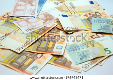 A pile of euro banknotes - stock photo