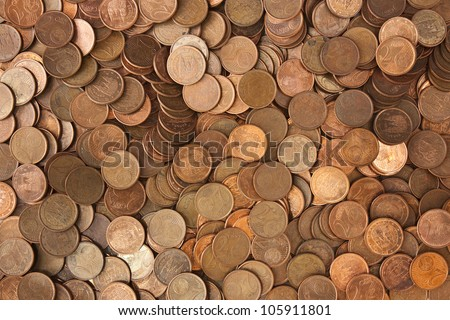 A pile of european coins of 2 cents - stock photo