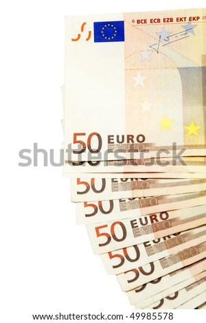 a pile of 50 euros bills isolated on a white background - stock photo