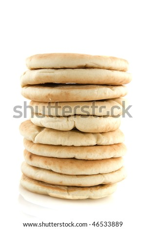 A pile of flat bread isolated over white