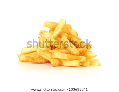 a pile of french fries on a white background - stock photo