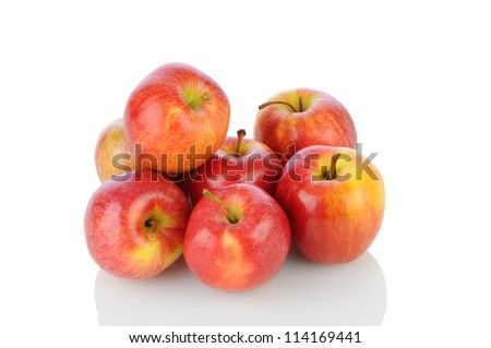 A pile of Gale Apples on white with reflection. Horizontal format. - stock photo