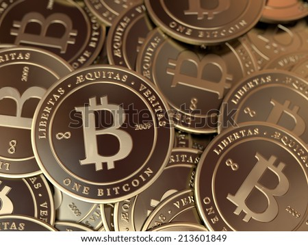 A pile of gold bitcoins. - stock photo