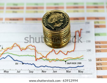 A pile of gold coins placed on a graph with several colored chart lines indicating gradual growth and decline  over the year, with mineral prices notably oil. - stock photo