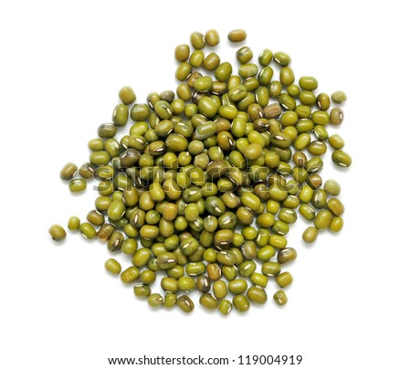 a pile of green beans on white background