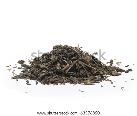 A pile of green tea leaves on white background - stock photo