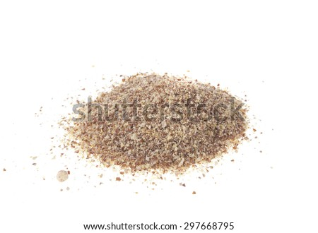 A pile of Ground Linseed, Almond and Sunflower Seeds isolated on a white background. - stock photo