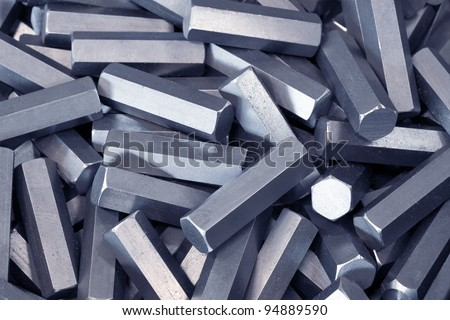 A pile of hexagon metal details - stock photo
