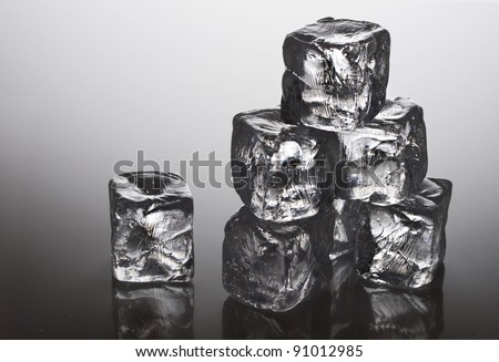 A pile of ice cubes