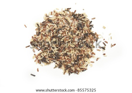 A pile of isolated mixed wild rice photographed from above. - stock photo