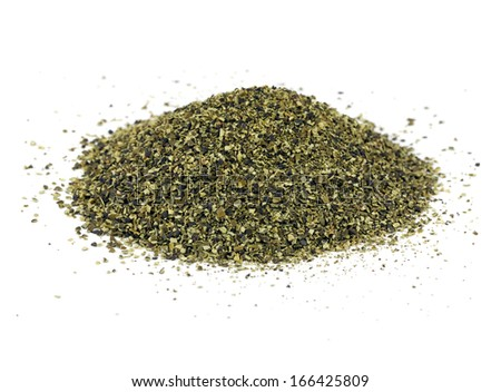 A pile of kelp meal, an ideal organic fertilizer and supplier of trace nutrients - stock photo