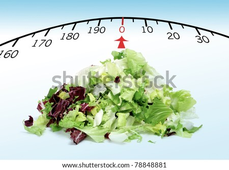 a pile of lettuce mix with a draw of a scale, symbolizing the concept stay fit - stock photo