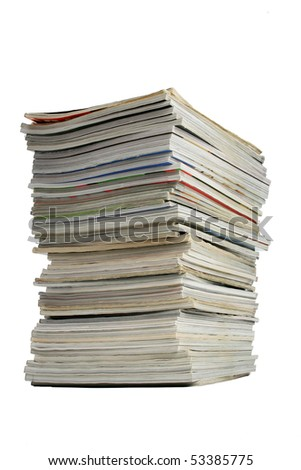 A pile of magazines isolated on a white background