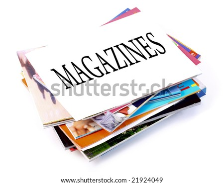 A pile of magazines on white background - stock photo