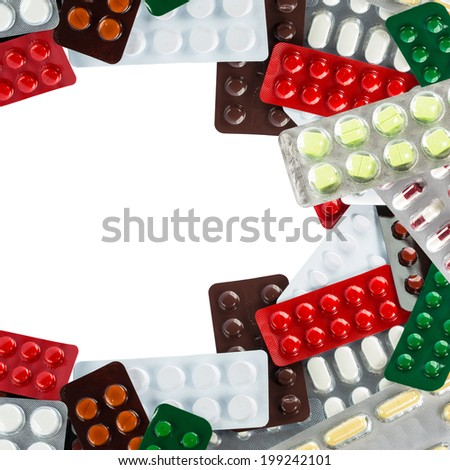 A pile of medicine in transparent blister packs with blank space - stock photo