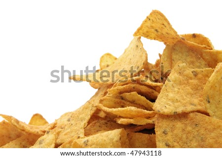 a pile of nachos isolated on a white background - stock photo
