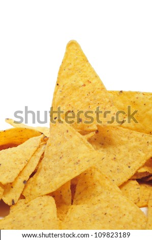 a pile of nachos on a white background