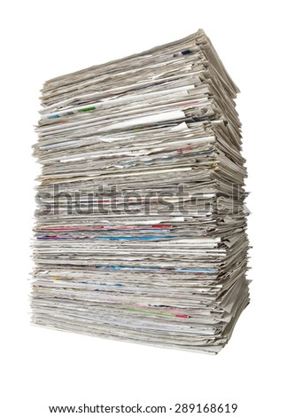 A pile of newspapers on a white background - stock photo