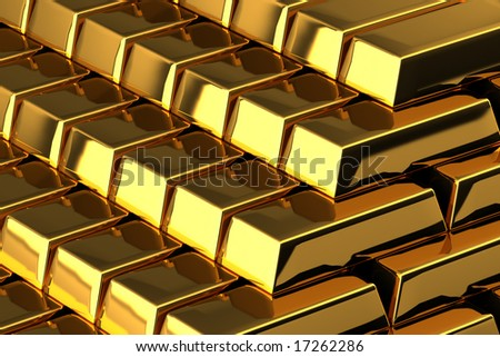 A pile of nice shiny gold bars - stock photo