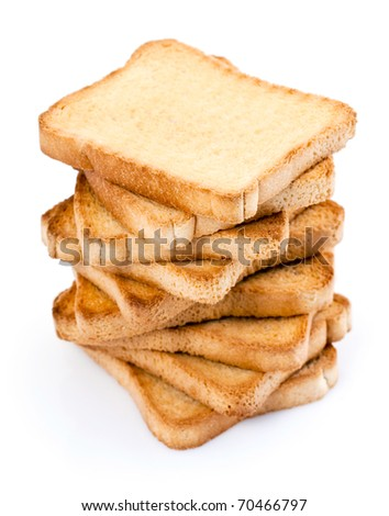 A pile of nine toasted bread slices for breakfast isolated on white studio background.
