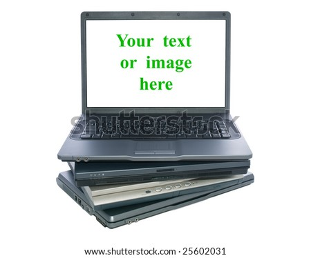 A pile of notebooks with blank for text or image. - stock photo