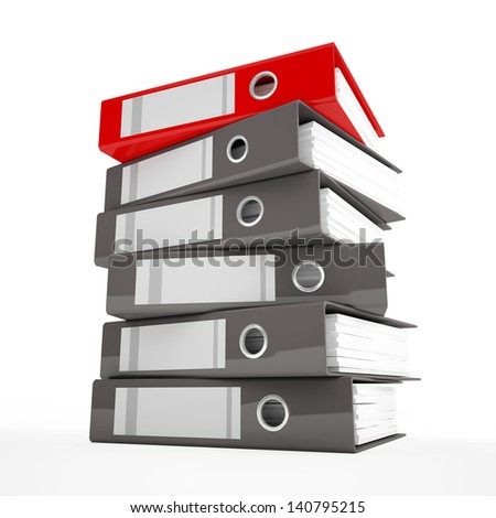 A pile of office ring binders