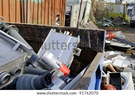 A pile of old appliances for metal recycling - stock photo
