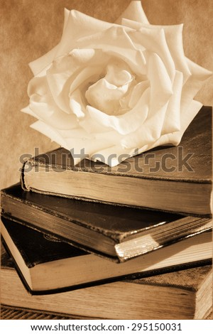 A pile of old books and a rose on the top. Vintage black&white, sepia-toned - stock photo