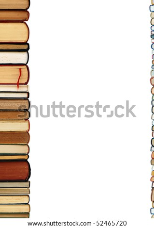A pile of old books as a colorful border isolated on white background with copy space area - stock photo