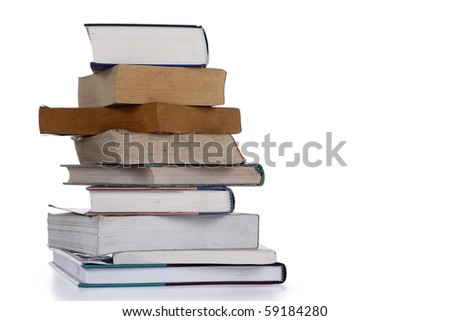 A pile of old books isolated on a white background. Clipping path included. - stock photo