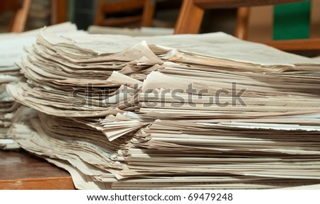 a pile of old documents in the archive - stock photo