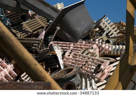 A pile of old home fixtures for metal recycling - stock photo