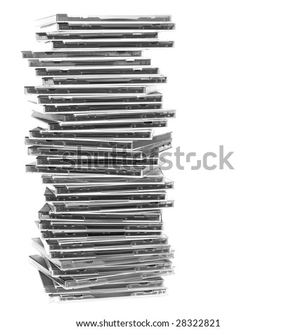 A pile of optical disc cases. Isolated on white. White space at the right. - stock photo