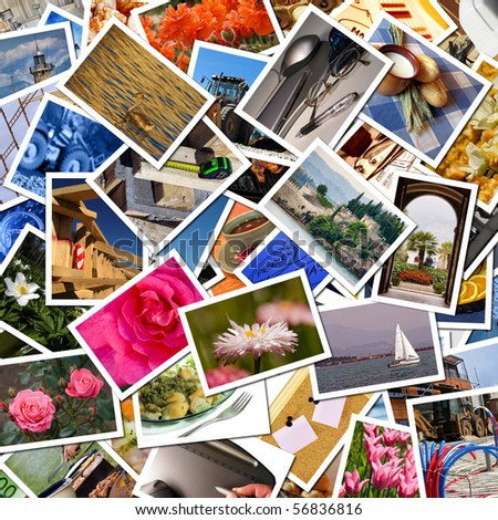 A pile of photographs arranged into a background - stock photo