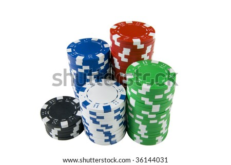 a pile of poker chips