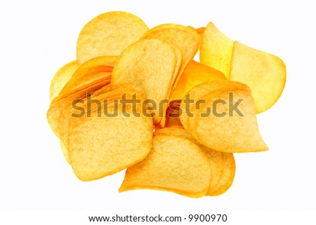 A pile of potato chips, isolated on white.