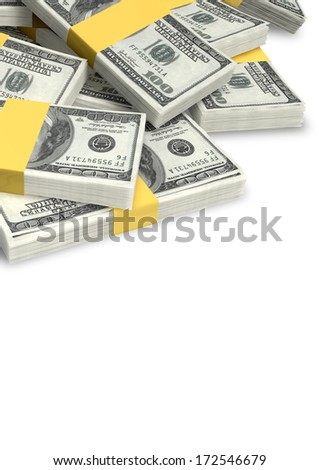 A pile of randomly scattered wads of us dollar banknotes on an isolated background